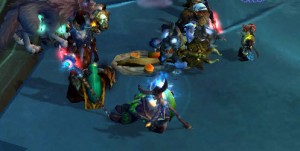 Players gather around a feast. (Screenshot by the author, World of Warcraft copyright Blizzard Entertainment, 2004.)