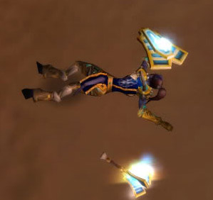 My character, Skakavaz, dead during a raid. (A common occurrence.) (Screenshot by the author, World of Warcraft copyright Blizzard Entertainment, 2004.)