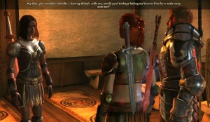 Getting this interaction was one goal of a recent replay of Dragon Age: Origins. (Click to enlarge.)