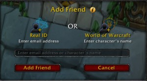 The RealID box in World of Warcraft.